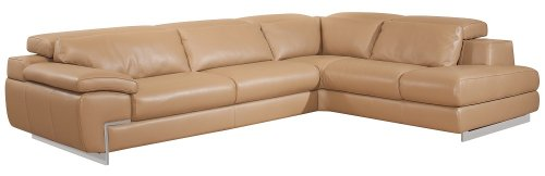 J&M Furniture Oregon-2 Full Beige Italian Leather Sectional Sofa With Adjustable Headrests