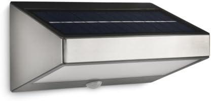 Philips Greenhouse MuurlampBuitenlampIP44Duurzame LED VerlichtingZonneEnergieWarmwit Lichtmet BewegingssensorDiscrete AanuitschakelaarRechthoekigRVS
