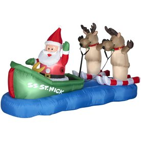Airblown 3.8 X 7 Foot Inflatable Santa Waterskiing With Reindeer