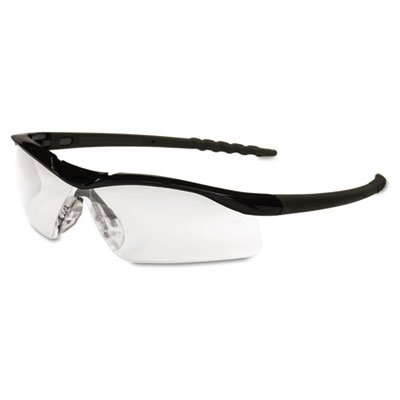 Dallas Wraparound Safety Glasses, Black Frame, Clear Lens, Sold as 1 Each