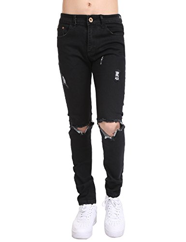 COOFANDY Men's Ripped Destroyed Holes Jeans Skinny Distressed Slim Fit Demin Pants,Black New,34