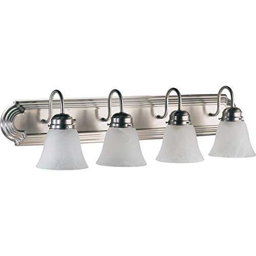 (Quorum International 5094-4-165 Vanity Lights with Alabaster Swirl Glass Shades, Satin Nickel)