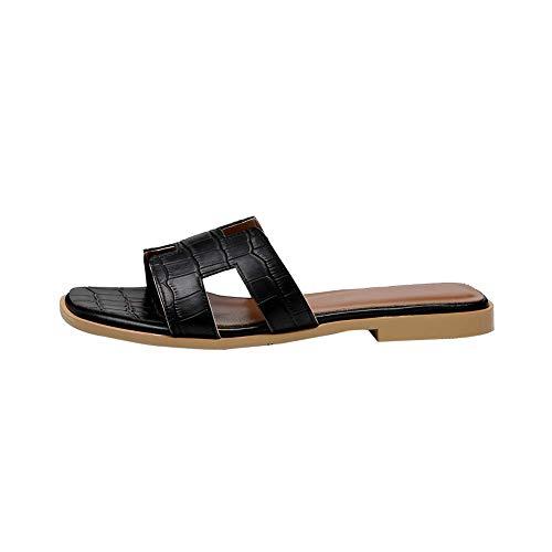 Libre De Al Respirable Zapatos Plano Las Ocio Aire Playa Acogedor 1cm Zapatillas Chanclas Blackc Sandalias Y Interior altura Mujeres Talón Resistente Del Desgaste Verano Salvaje vavqr