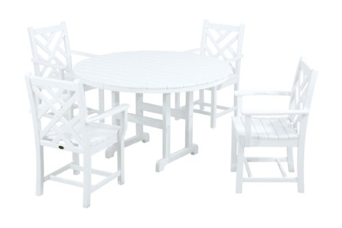 POLYWOOD PWS122-1-WH Chippendale 5-Piece Dining Set, White