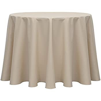 Superior Ultimate Textile Poly Cotton Twill 60 Inch Round Tablecloth Beige