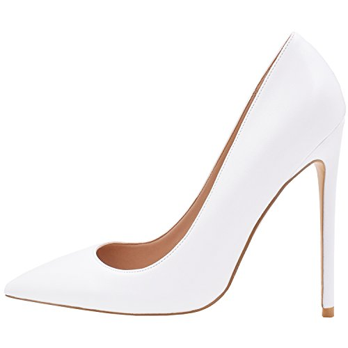 Pointed Toe High Heels Shoes (White) - 4