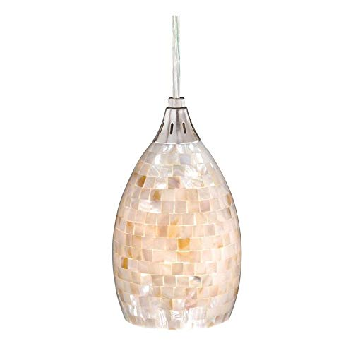 (Vaxcel PD53206SN Milano Mini Pendant with Mosaic Shell Glass, 4-1/2