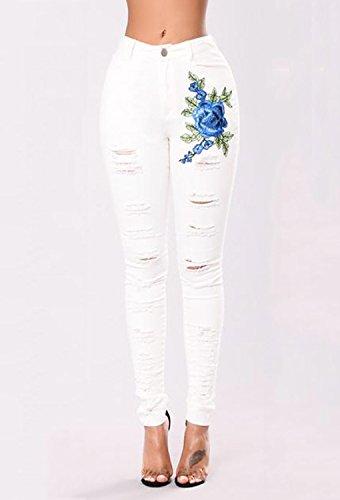 Jeggings Rose Broderie t Ripped Leggings Slim Femmes Stretch Denim Taille Printemps Blanc Pantalons Haute Jeans Minetom Pants Skinny Crayon XpY7xqwq