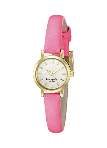 kate spade new york Womens 1YRU0367 Tiny Metro Gold-Tone Watch with Pink Leather Band