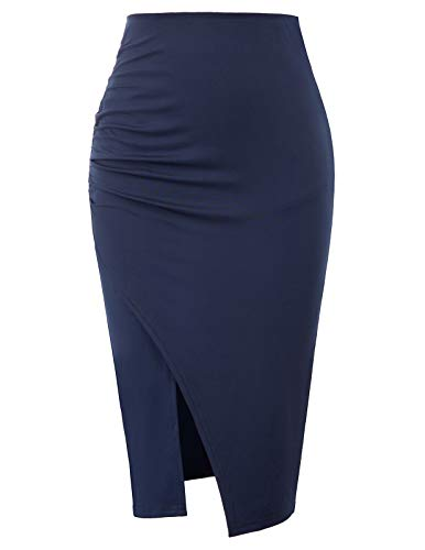 (GRACE KARIN Women Ladies Formal Business Hips-Wrapped Flared Pencil Skirt Navy Blue Size S CL930-2)