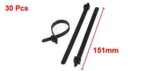151mm x 8mm Black Nylon Releasable Push Mount Cable Zip Tie 30 Pcs
