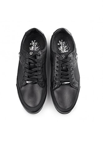 Bambooa Men's Designer Low Black Phoenix Leather Smart Casual Shoes Trainers sale real Qh4s4owxID
