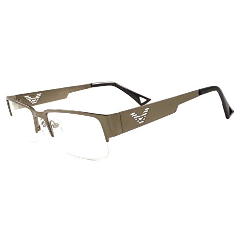 VINTAGE Designer Metal Frame Half Rim Clear Lens Eye Glasses GUNMETAL