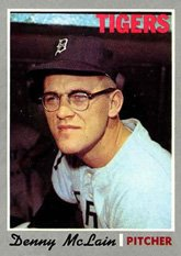 1970 Topps Regular (Baseball) card#400 Denny McLain of the Detroit Tigers Grade Very Good