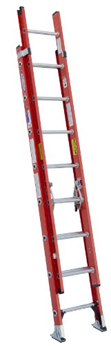 Werner D6216-2 300-Pound Duty Rating Fiberglass Flat D-Rung Extension Ladder, 16-Foot by Werner