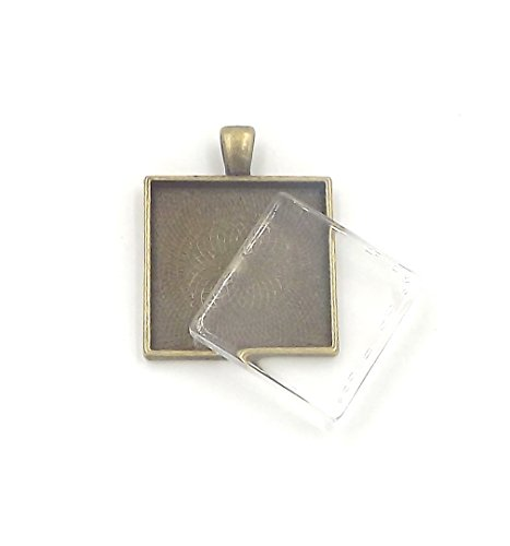 24 Deannassupplyshop 1 inch square Pendant Trays with flat glass - Antique Bronze - 1 inch - Pendant Blanks Cameo Bezel Settings Photo Jewelry - Custom Jewelry Making - 1 inch