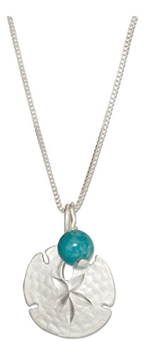 Sterling Silver 18 inch Sand Dollar Necklace with Blue Riverstone Bead