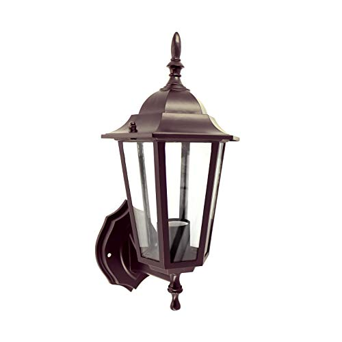 IN HOME One-Light Outdoor Wall Up Lantern Fixture, Bronze Finish Cast Aluminum Housing with Clear Glass Shade, Waterproof Exterior Wall Lamp Light for Front Porch, Yard, Garage, ETL Listed