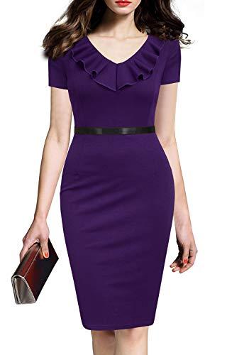 REPHYLLIS Women's Ruffles Short Sleeve Business Cocktail Pencil Dress XXL Purple ()