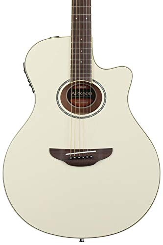 Acoustic Vintage Guitar Body - Yamaha APX600 VW Thin Body Acoustic-Electric Guitar, Vintage White