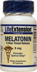 Prolongation de la vie La mélatonine 6 Heure caplets à libération lente, 3 mg, gélules, 60-Count
