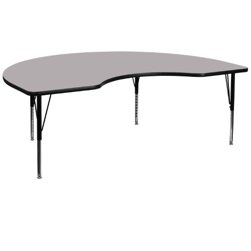 Flash Furniture 48''W x 96''L Kidney Grey Thermal Laminate Activity Table - Height Adjustable Short Legs