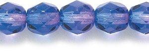 Preciosa Czech Fire 6 mm Faceted Round Polished Glass Bead, 2-Tone Sapphire/Fuchsia, 150-Pack
