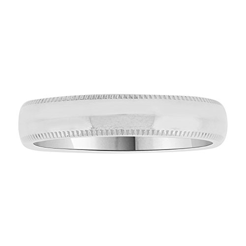14k White Gold, Classic Milgrain Plain Polished Band Ring 4mm Wide Size 12 by GiveMeGold