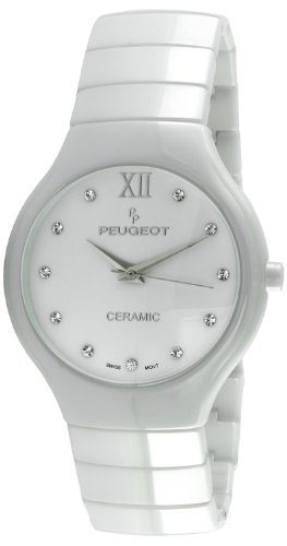 Best Deal Peugeot Swiss Women's White Ceramic Watch Wiith Stainless Steel Deployment Buckle and Lifetime Warranty