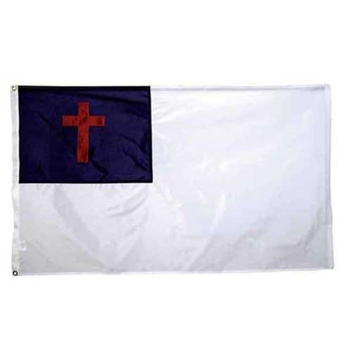 America CH3X5NCHR1 Nylon Christian Flag, With Header and Grommets, 3'X5'