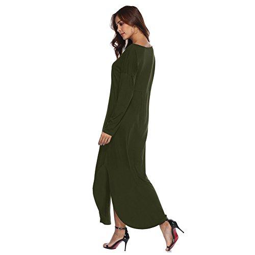 y Verano Verde Casual Oversize Blusa Playa Casual Caftan Asimetricos de Maxi Liso Largo Tunica Dress Fiesta Noche Talla Imperio Grande Larga Raja 2018 con Corta Manga Mujer Vestidos Camiseta Top C Vestidos Aqgn5zx