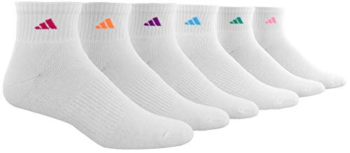 adidas Women's Athletic Quarter Sock (6-Pair), White/Shock Pink Glow Orange Shock Purple Bright C, Medium, (Shoe Size 5-10)