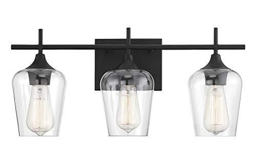 Savoy House 8-4030-3-BK Octave 3-Light Bathroom Vanity Light in a Black Finish - Lights Over Black Mirrors Bathroom