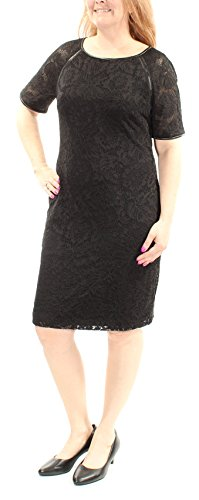 Lauren Ralph Lauren Women's Faux-Leather-Trim Lace Dress (4, Black) (Ralph Lauren Spring Lace)