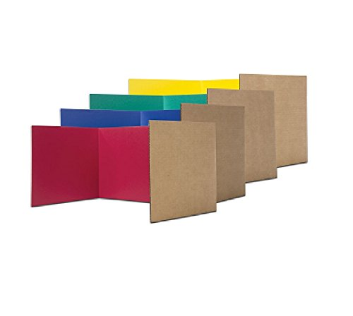 Pack of 24 Corrugated Study Carrels - 6 each red, blue, green, yellow (12x48in) - only $3.54 (Corrugated Study Carrel)