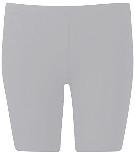 New Womens Plus Size Over Knee Plain Jersey Cycling Shorts ( Light Grey, 1X )