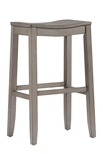 Hillsdale Furniture 4583-827 Fiddler Saddle Backless HeightStool Counter Stool, Aged Gray