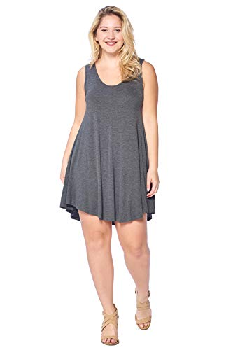 Modern Kiwi Solid Basic Asymmetric Plus Size Tank Tunic Dress Charcoal 1X
