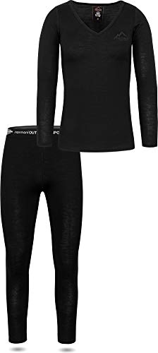 normani Damen Merino Unterwäsche-Set Garnitur (Langarmshirt Unterhemd und Unterhose) 100% Merinowolle Thermounterwäsche Ski-Funktionsunterwäsche