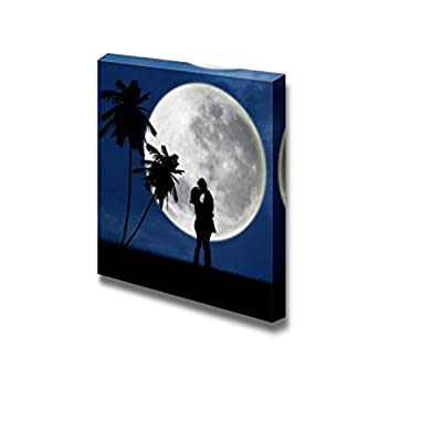 Canvas Prints Wall Art - Romantic Kiss in Front of Full Moon | Modern Wall Decor/Home Decoration Stretched Gallery Canvas Wrap Giclee Print. Ready to Hang - 16