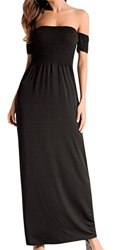 Fashion s Black Dress Shoulder Strapless Party Backless Maxi Women Off Domple wvq5n7WERn