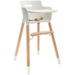 WeeSprout Wooden High Chair for Babies & Toddlers   3-in-1 High Chair/Booster/Chair   Grows with Your Child   Adjustable Footrest/Legs   Removable Tray/Armrest   Modern Wood Design   Easy to Assemble