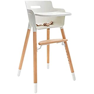 WeeSprout Wooden High Chair for Babies & Toddlers   3-in-1 High Chair/Booster/Chair   Grows with Your Child   Adjustable Footrest/Legs   Removable Tray/Armrest   Modern Wood Design