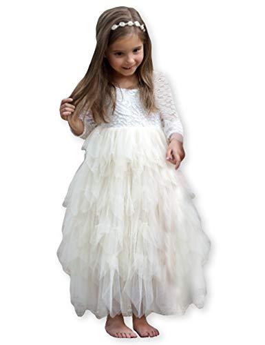 Girls Lace Dresses V-Back Backless Tutu Tulle Long Sleeve Dress for Kids 1-10Y ()