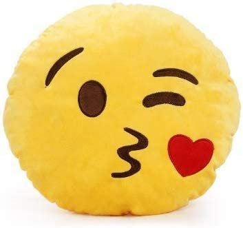 Laura Smiley Thick Plush Pillow Round Cushion Pillow Stuffed Gift for Kid for Birthday Gift -30CM, Yellow (Kissable Smiley)