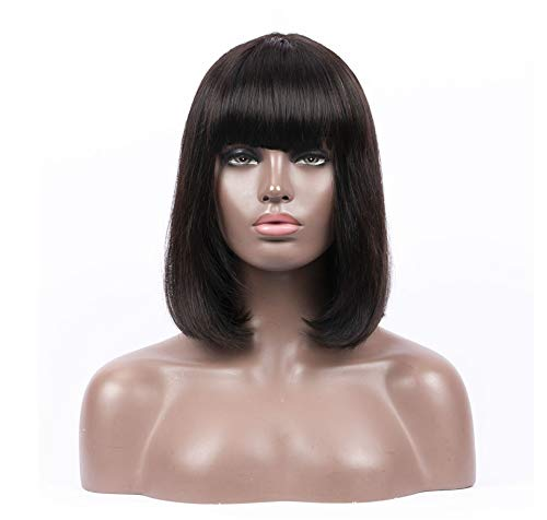 Wiggins Brazilian Virgin Human Hair Wigs Human Hair Bob Wigs with Bangs Natural Color for Women (14
