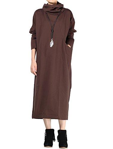 MatchLife - Vestido - suéter - Manga Larga - para mujer Style1-Kaffee