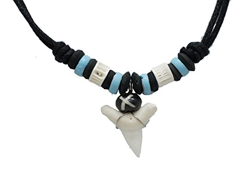 Exoticdream Real Shark Tooth Necklace Rasta Surfer Hawaiian Beach Boys Girls Color Beads (Sky Blue)