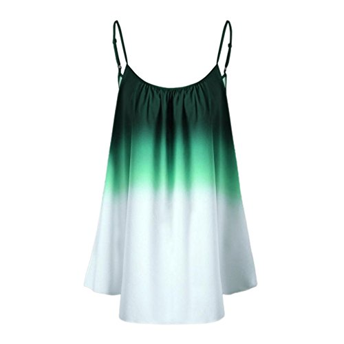 (iTLOTL Women's Casual Gradient Sleeveveless Ombre Cami Top Trim Tank Top Blouse(US:8/CN:M, Green ) )