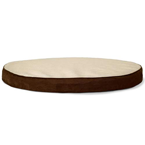 Furhaven Pet Dog Bed Orthopedic Round Oval Faux Sheepskin Sherpa Suede Foam Mattress Pet Bed w Removable Cover for Dogs Cats, Espresso, Large